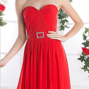 Red Sleeveless Bridesmaid Long dress